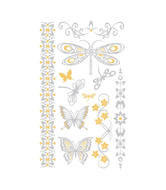 Tatouages temporaires Tattoo Chic Papillons Argent/Or